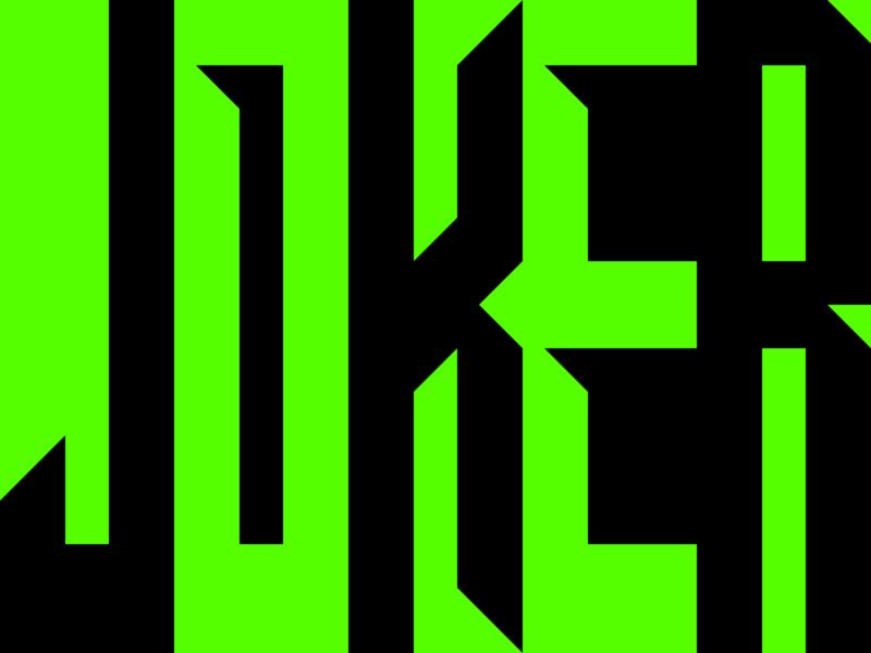 Joker oversize large extra title fun batman phoenix joaquin shadow out knock text font space negative green black 2019 movie joker