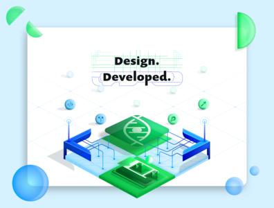 Burnside Agency Marketing Site - Hero Section design develop texture geometric shape sphere code font animation 2d 3d isometric perspective illustration