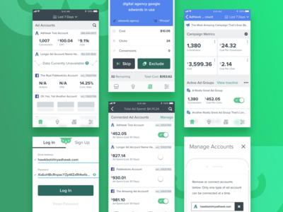 AdHawk iOS signup login campaign account skip metric dashboard advertisement agency adwords adsense ads ad facebook google