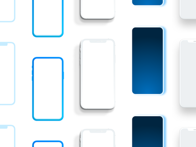 Many iPhones button iphone11promax iphone11 11pro x iphone mobile device camera notch blue retina display gradient illustration phone 3d 2d bezel screen