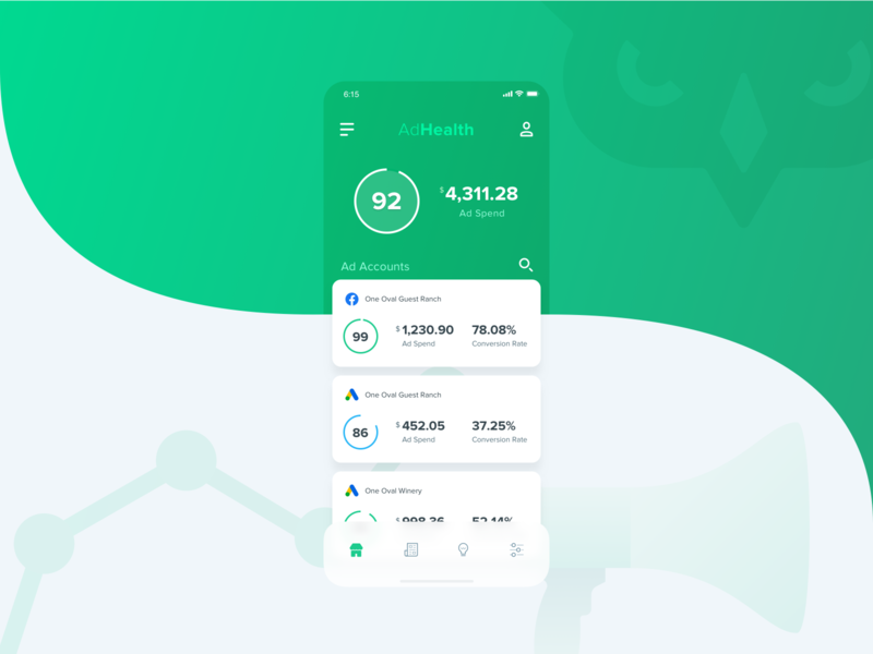 AdHawk iOS - AdHealth Concept ux ui track stat spend design product number mockup mobile manage infographic google facebook dashboard circle campaign ads ad account