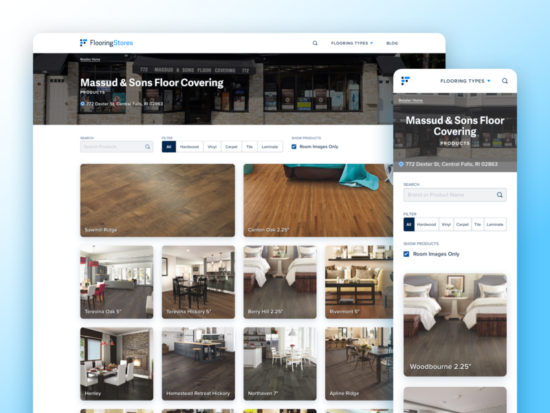 FlooringStores.com - Retailer Products Page product design floor room search filter swatch flooring address store location retailer search result product web app