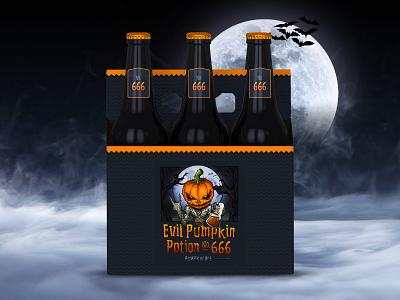 Evil Pumpkin Potion No. 666 photoshop procreate pumpkin beer beer bottle beer can beer package packagedesign