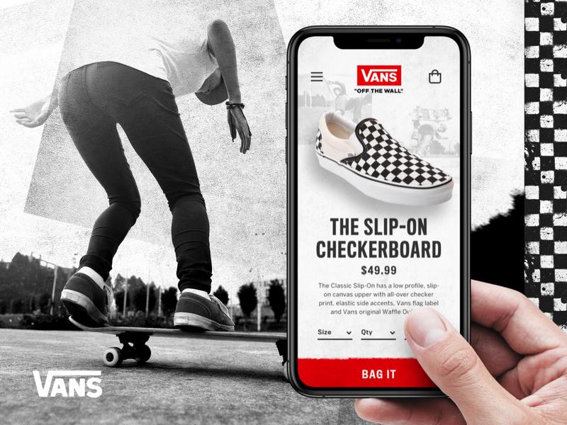 Vans fashion mobile retail ui typography e-commerce ui design