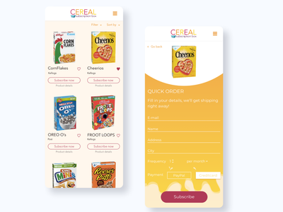 Cereal subscription micro interactions branding app design app ui ux