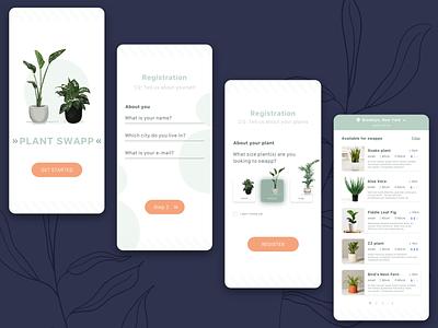 Mobile App for plant swap registration page mobile app design illustration web design app design app ux ui