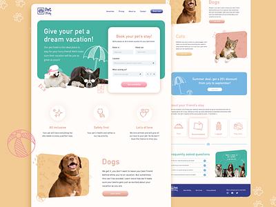Pet hotel homepage website colorful design icon design logo illustration design web design branding ux ui