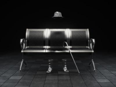 Lonely cinema 4d c4d vray 3d chrome metal chair. hat
