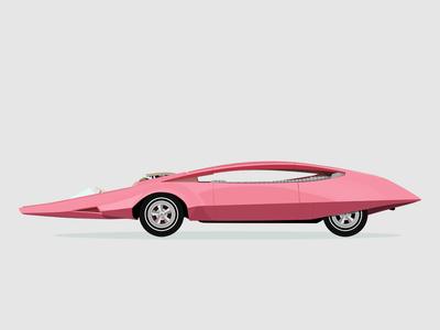 Upcoming Project - Flat Pinkpanther Custom Toronado 1968 flat design cars illustration pink panther movies vehicle cinema machine wheels