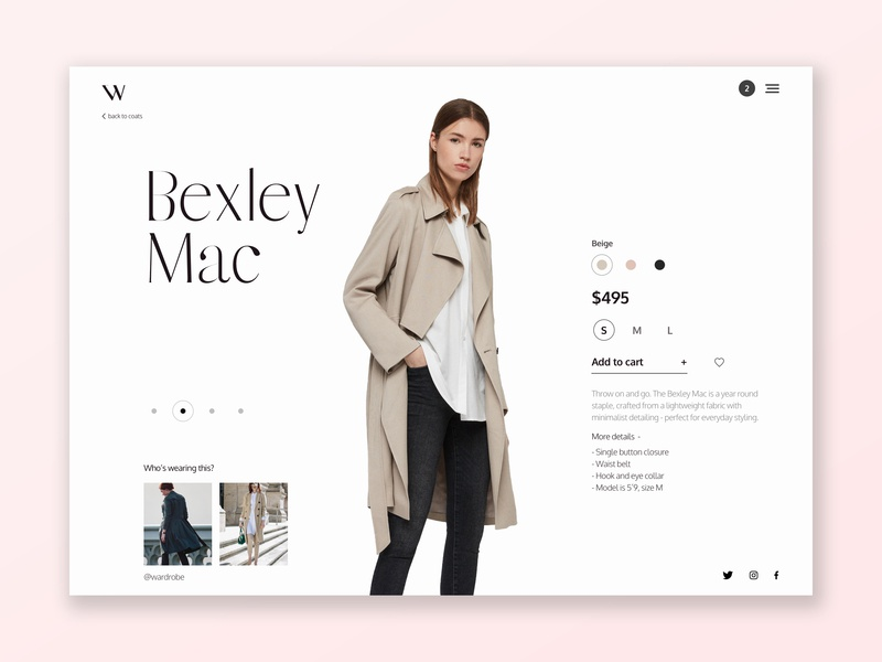 Bexley Mac Wardrobe UI fashion design fashion clothes colour web sketch photoshop icon design ux ui typography flat
