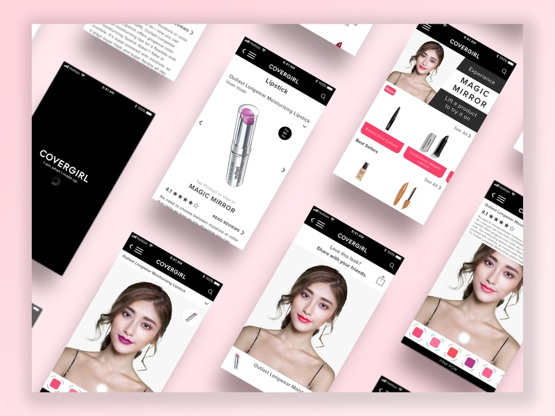 Covergirl in collaboration with Holition product fashion app app makeup covergirl fashion vector icon sketch ux design ui typography flat