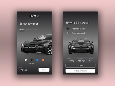BMW i8 typography vector cart car product photoshop sketch flat design ui