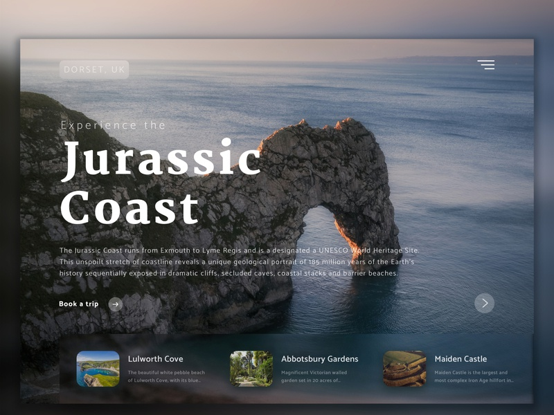 Experience the Jurassic Coast visit jurassic web ui landing page dorset travel typography icon photoshop sketch