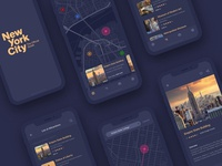 Travel Guide Concept new york city navigation map ui app ui travel app concept application iphone