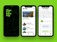 Itinerary Planning app (concept) ui trip travel places mobile map location ios guide day plans city app