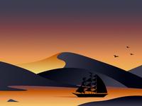 Sailing through a sunset