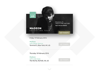 Event listing // 070 concert event listing photoshop madeon day 070 daily dailyui minimal tickets information ui ux