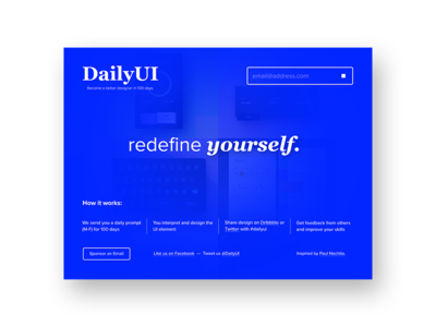 Redesign Daily UI Landing Page // 100