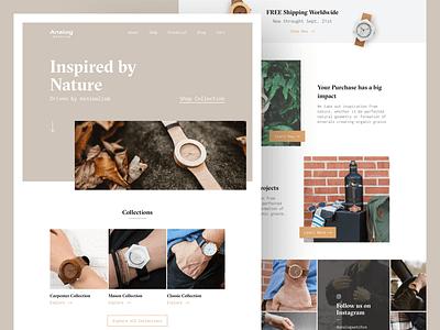 Analog Watch Co. ecommerce design lifestyle watches web minimal ux ui