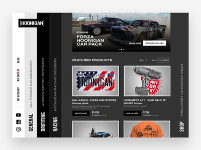 Hoonigan Shop featured items website shopping shop ui ux hoonigan car racing minimalist ecommerce