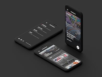 Hoonigan Mobile iphone x menu landing page shop ui ux hoonigan car racing video video background mobile
