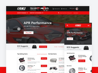 ECS Tuning: Desktop & Mobile desktop website cars mobile ecs tuning ui ux e-commence image gallery products chat