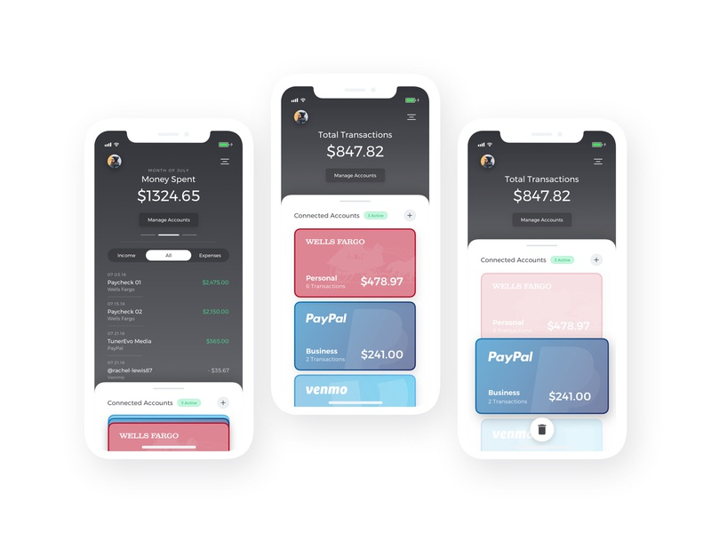 Money Management II credit card trash sketch app wells fargo venmo paypal product design app iphone iphonex money management banking ui ux minimal