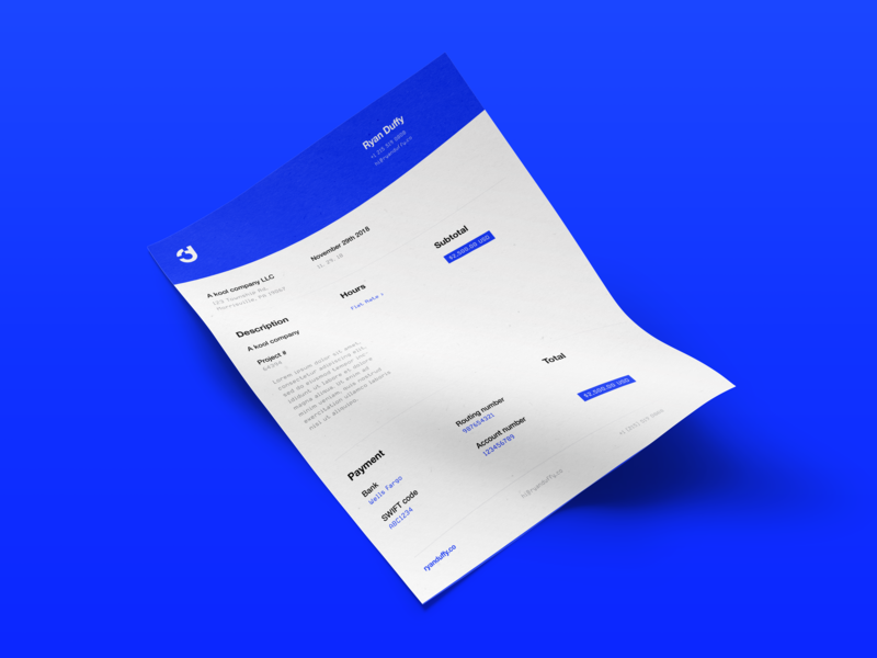Invoice ryanduffy.co rynduffy rduffy ryan duffy flat design branding identity simple clean letter minimal logo brand bill blue 1033ff invoice