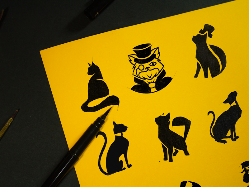 Rich Cat Concepts brand assets mascot conceptart brand sketch art process draft logo a day typography illustration icon artwork icon concept branding vector design logo