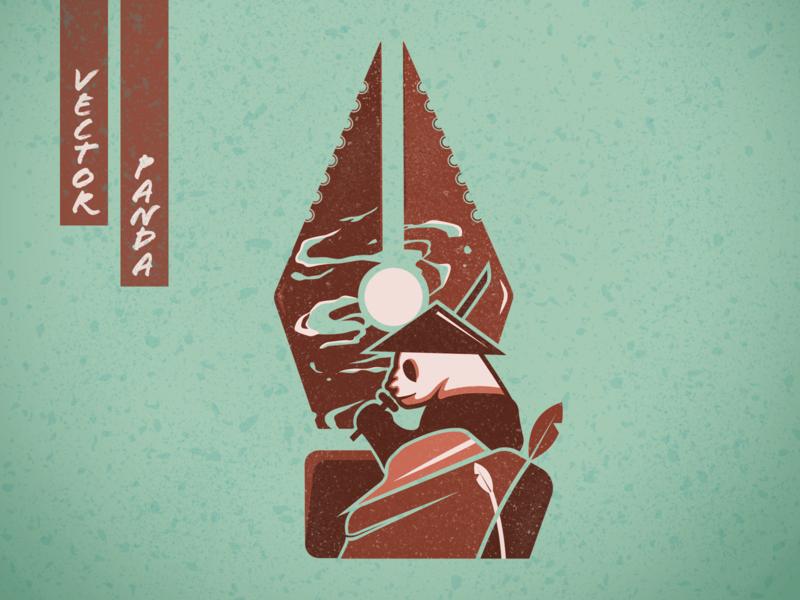 Vector Panda sword warrior badge panda animal art logo movie poster posters branding poster design poster art vector illustration design