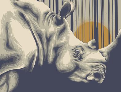 RHINO rhinoceros sun gold golden yellow grey animal animal art movie poster posters poster design poster art vector illustration design rhino