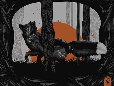 Black Fox portfolio fox logo badge animal art animal black fox black fox poster poster design poster art vector illustration design