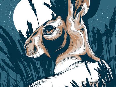 Moonlight Hare animal illustration rabbit logo rabbit illustration bunny logo bunny rabbit hare packaging animal badge animal art poster design posters vector poster art illustration design