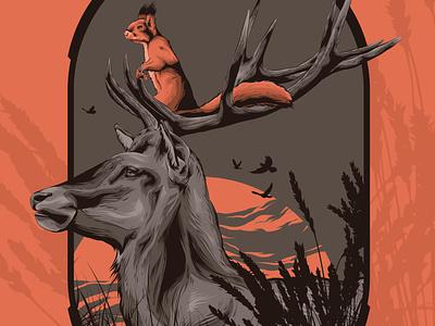 Hitchhiker deer head tan orange squirrel logo deer illustration squirrel deer logo animal badge animal art posters poster design poster art vector illustration design