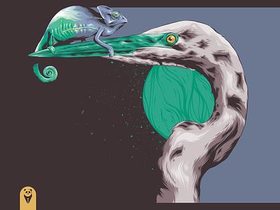 Reaching New Heights lizard stork bird heron chameleon animal badge animal art branding posters poster design poster art vector illustration design