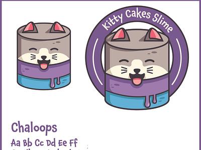 Kitty Cakes Slime slime face logo cake logo logodesign catlogo cat badge icon animal typography logo branding vector illustration design