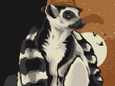 Demur Lemur exotic animal print poster lemur branding animal animal art movie poster posters poster design poster art vector illustration design