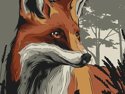 Fox vector illustration orange vectorart fox illustration fox animal badge animal art posters poster design poster art vector illustration design