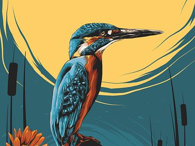 Kingfisher flowers flower print print design kingfisher bird logo animal animal art posters poster design poster art illustration vector design