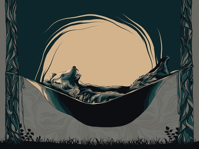 Grizzly at Ease sunset relax sleeping hammock bear grizzly bear grizzly animal animal art posters poster design poster art illustration vector design