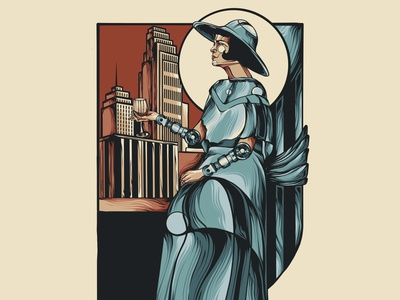 A Sophisticated Future poster city illustration vintage roaring 20s 20s woman lady logo branding posters poster design poster art illustration vector design deco futurism art deco futurism retrofuturism retro