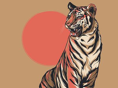 Tigers Den jungle animal wild tigress wall art packaging cat drawing panther lion cat big cat logo branding posters poster design poster art illustration vector design tiger