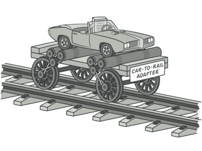 Car-to-Rail Adapter Illustration web vector illustration