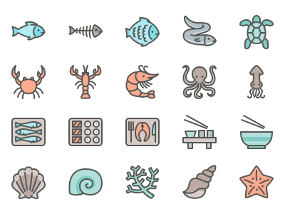 Fish And Sea Food Line Icons lines vector illustration icon set icons icon