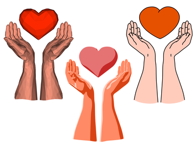 Heart in hands (the same scene in different techniques) 2d art 3d art hands heart outline low poly lowpoly 3d vector illustration