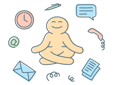 Illustration of Work Meditation outline flat illustration simplicity simple flat design flat outlined character illustration