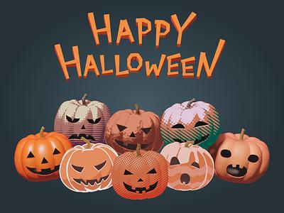 Happy Halloween! 3d 2d art simple character vector halloween illustration