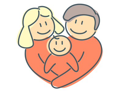 Heart shaped family love heart lovely lineart line family inkscape logo icons adorable simplicity outline flat simple character design 2d art character vector illustration