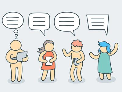 Talking people bubble set inkscape web simplicity outline flat simple character design 2d art character vector illustration