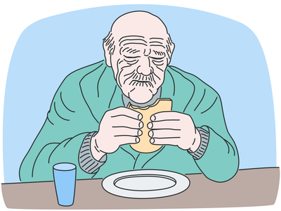 Old main eating inkscape simplicity outline flat character design 2d art simple character vector illustration